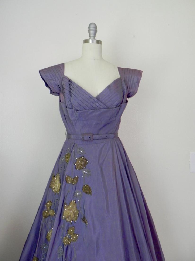 Vintage 1940s-1950s Purple Taffeta Party Dress AS IS - 2