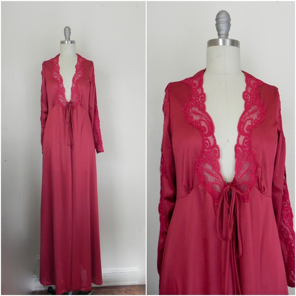 Vintage Lace Floral Ruby Red Lingerie/ Nightgown