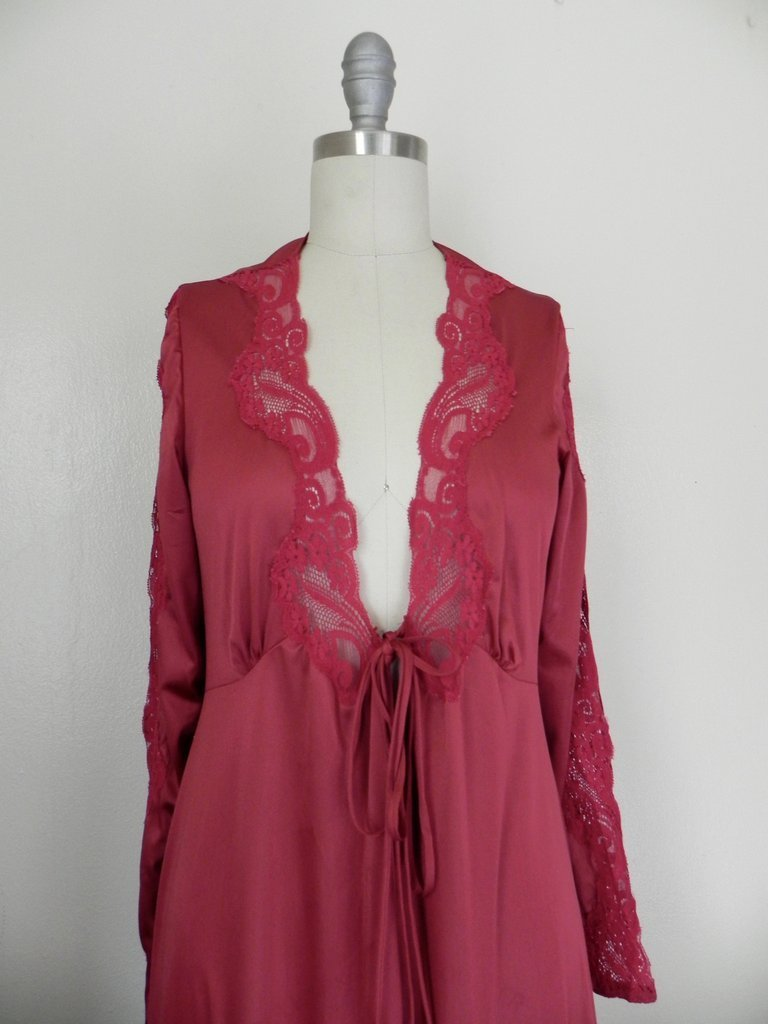 Vintage Lace Floral Ruby Red Lingerie/ Nightgown - 3