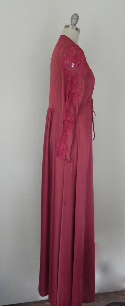 Vintage Lace Floral Ruby Red Lingerie/ Nightgown - 4