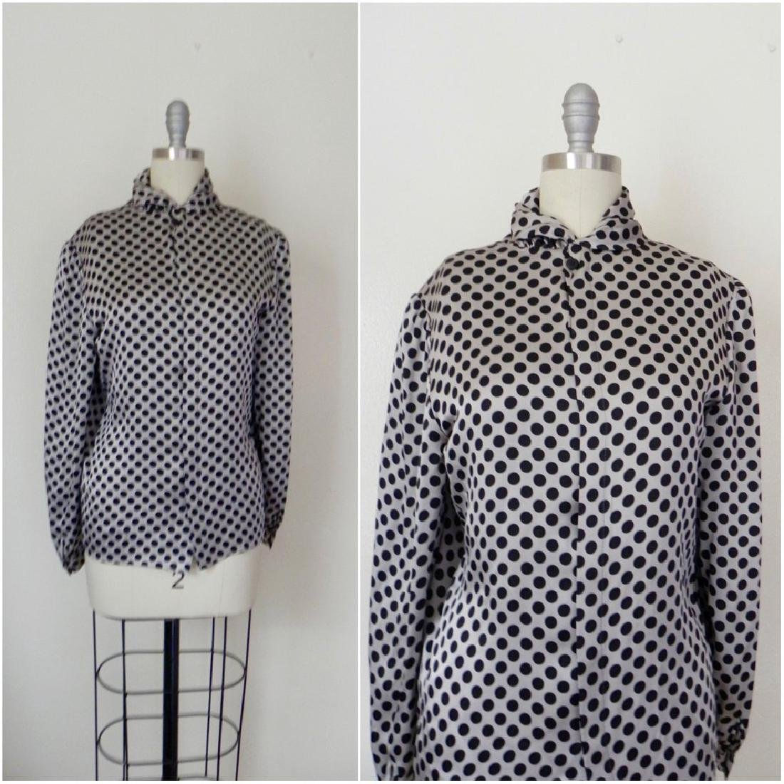 Vintage 1970s Valentino Silk Grey/Black Blouse