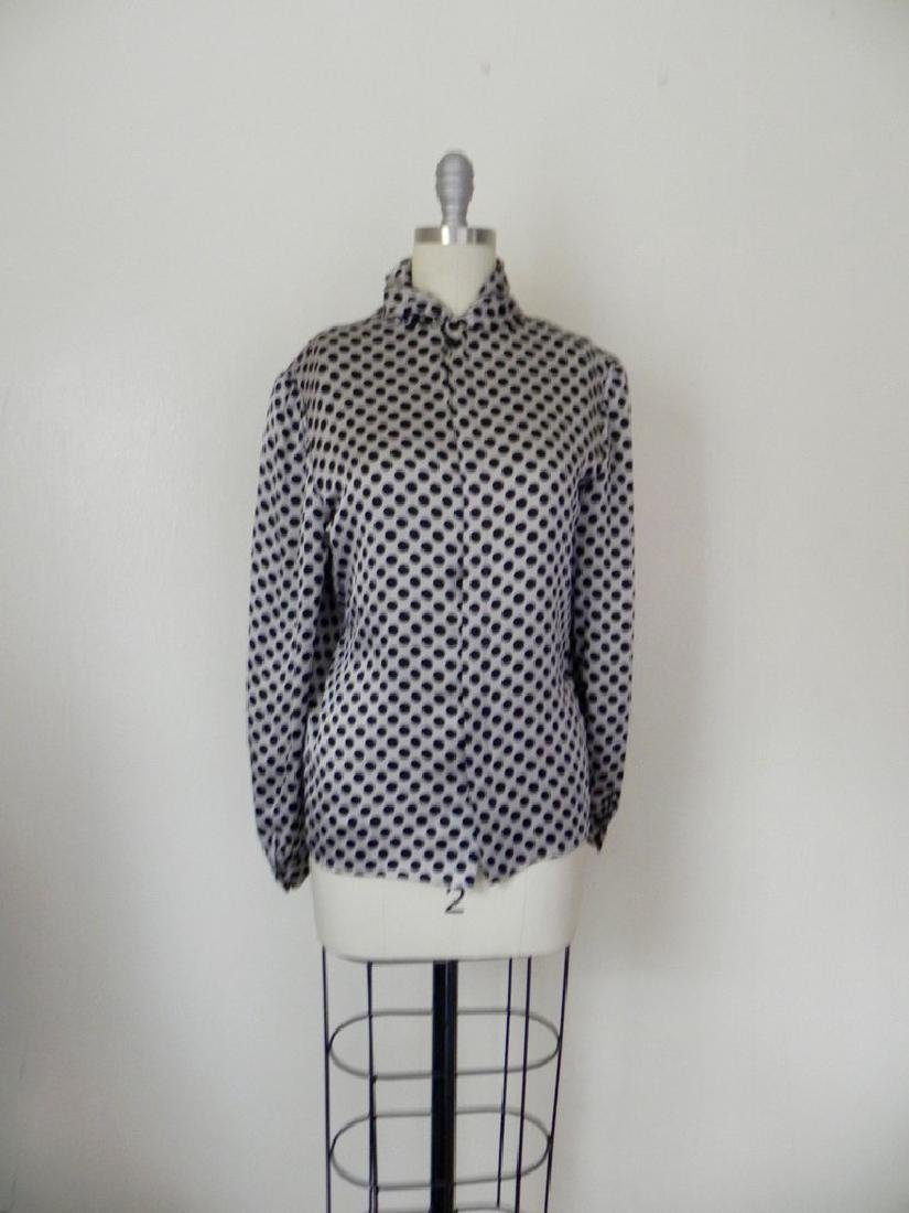 Vintage 1970s Valentino Silk Grey/Black Blouse - 2