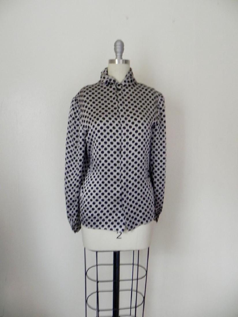 Vintage 1970s Valentino Silk Grey/Black Blouse - 2