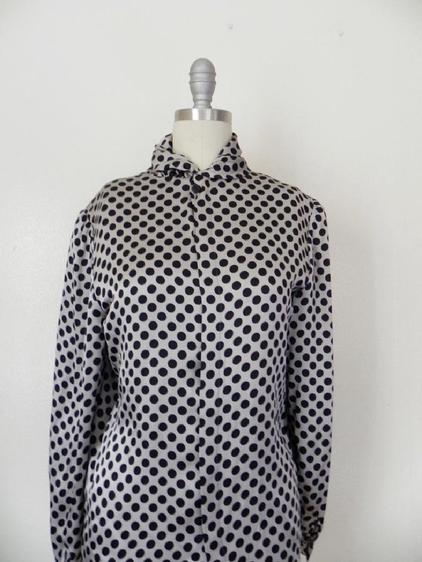 Vintage 1970s Valentino Silk Grey/Black Blouse - 3