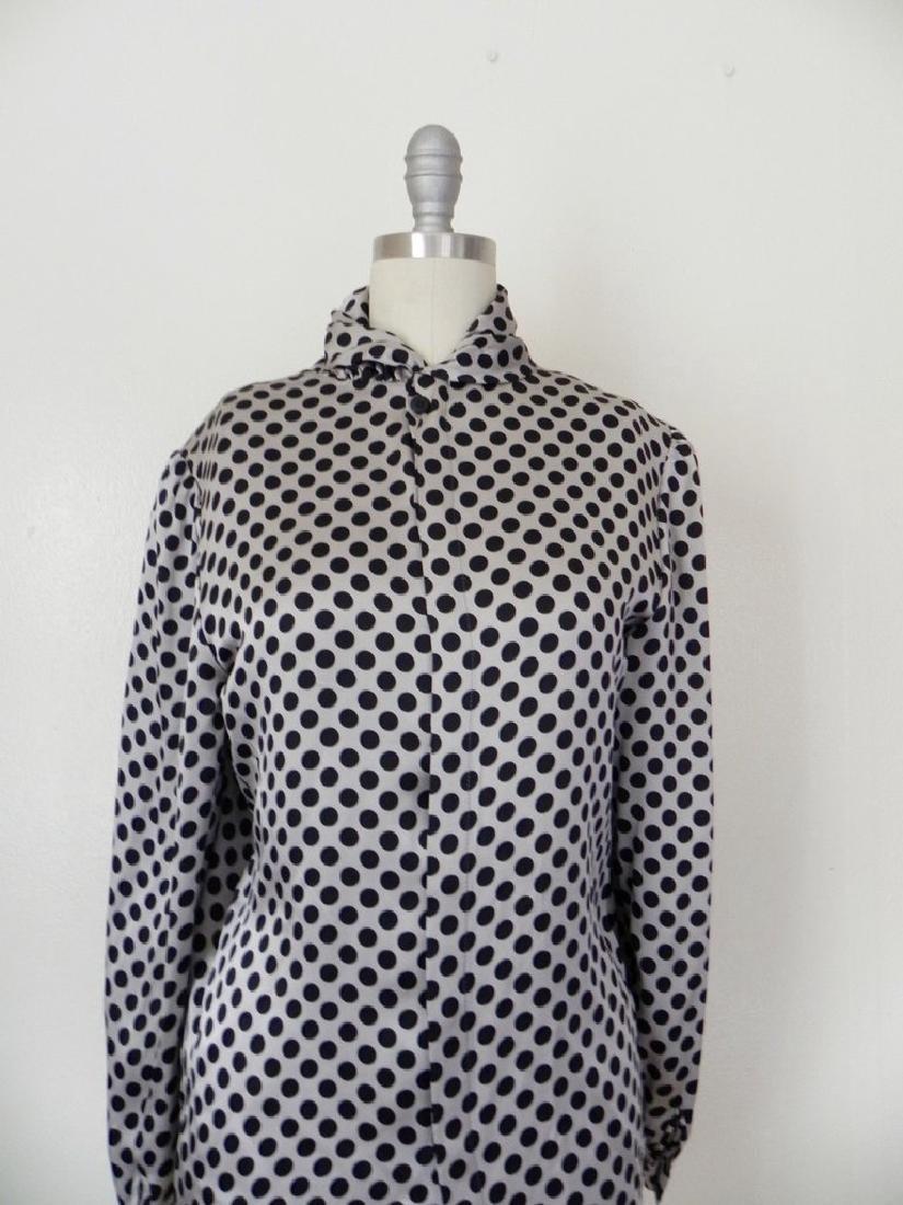 Vintage 1970s Valentino Silk Grey/Black Blouse - 3