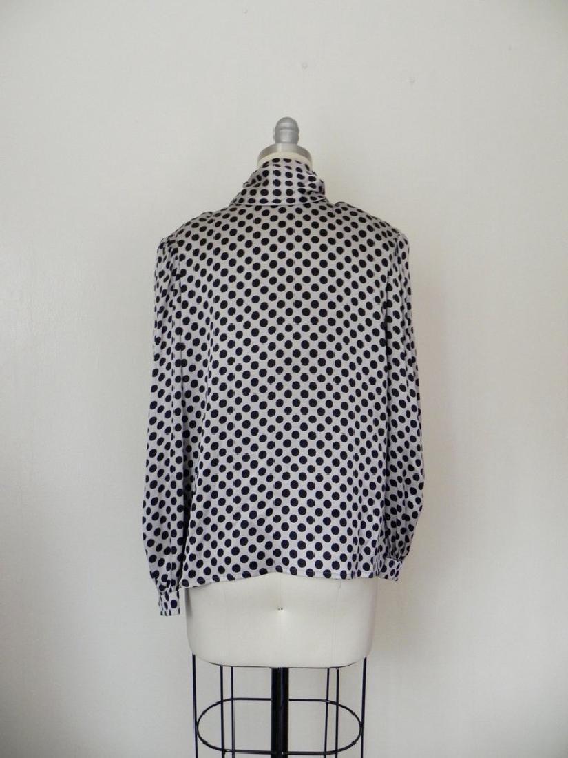 Vintage 1970s Valentino Silk Grey/Black Blouse - 5