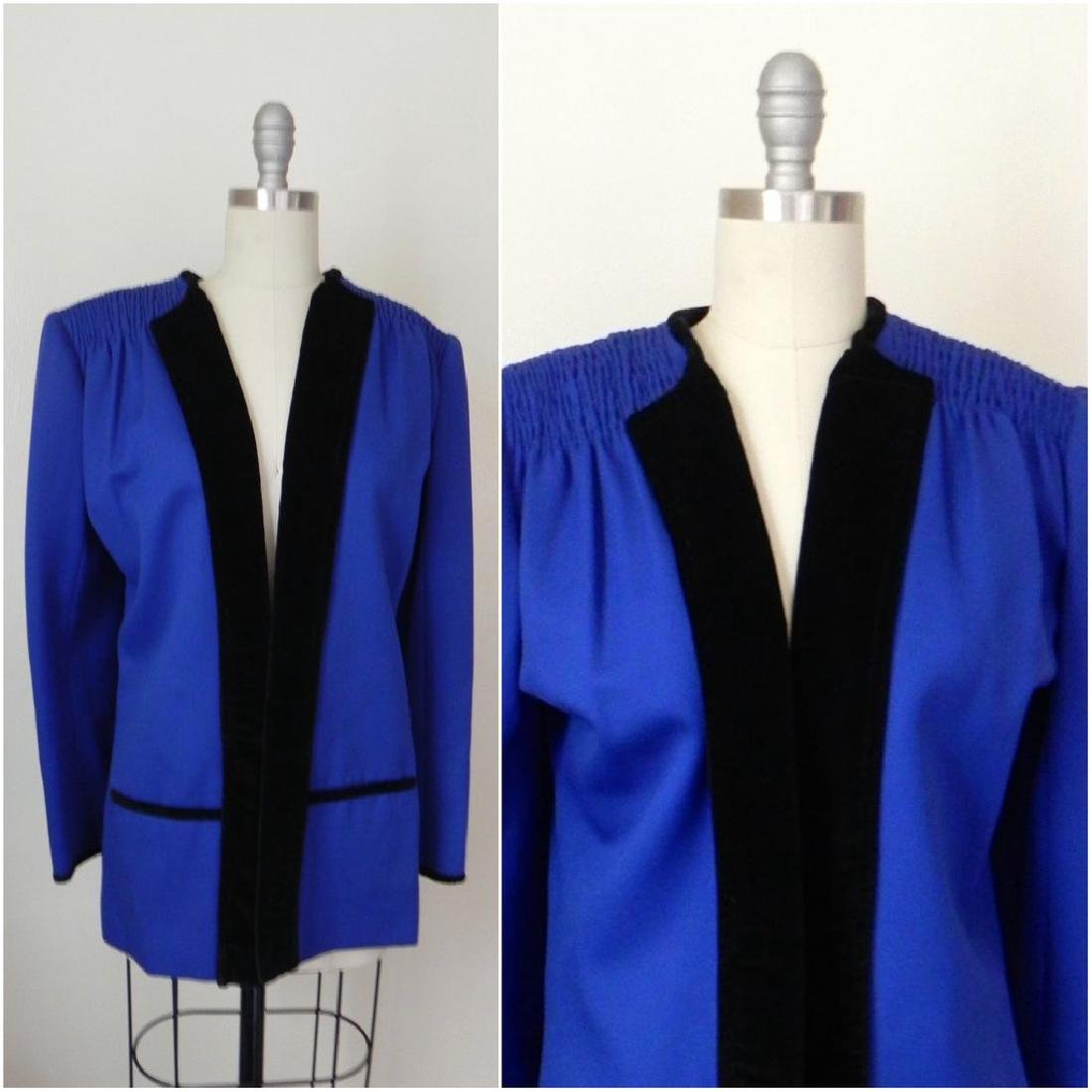 Vintage 1980s Valentino Cobalt Blue Wool Evening Jacket