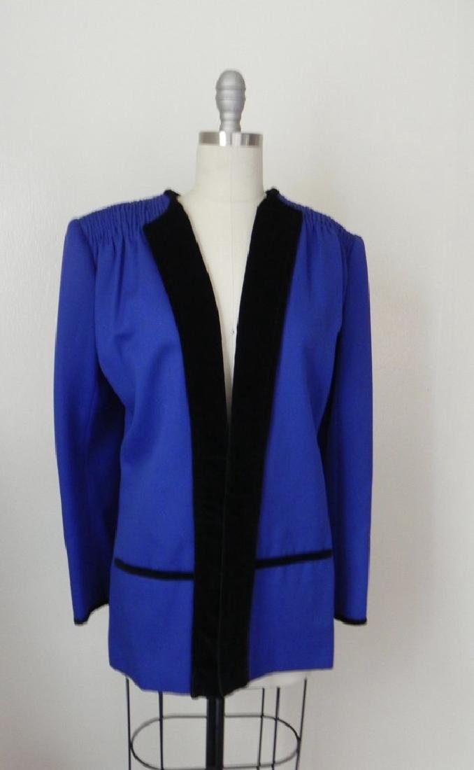 Vintage 1980s Valentino Cobalt Blue Wool Evening Jacket - 2