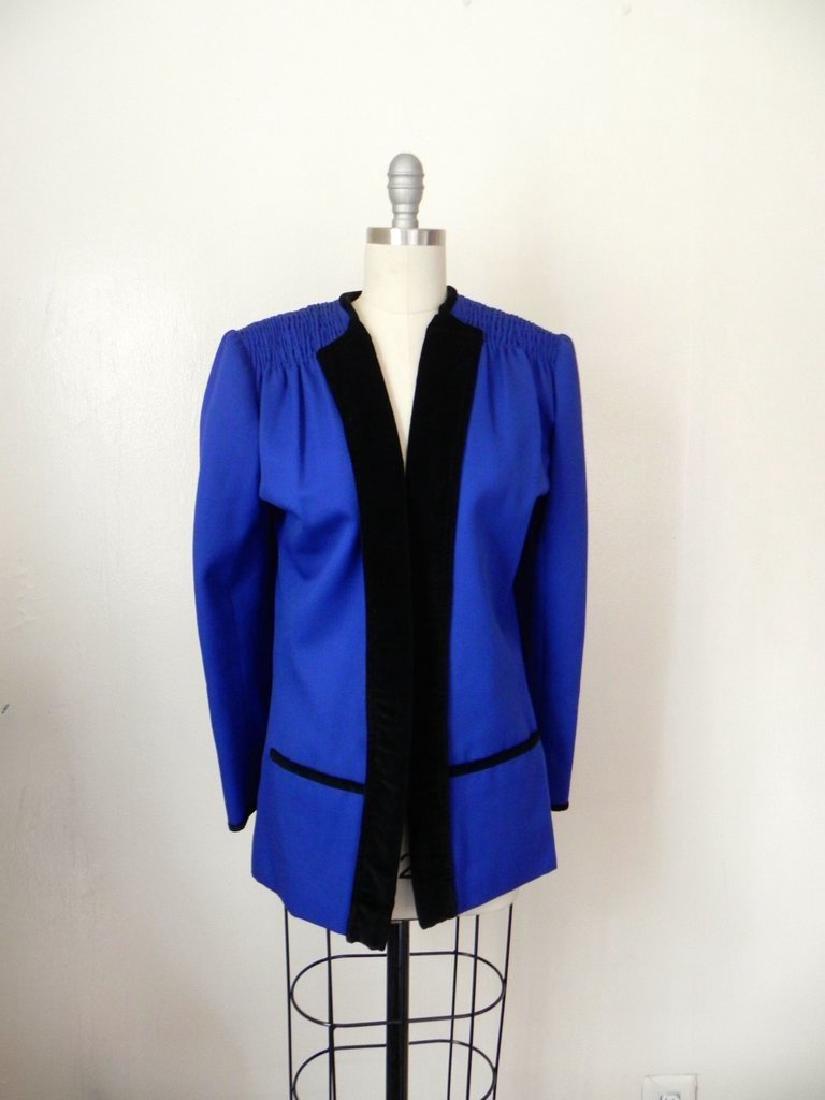 Vintage 1980s Valentino Cobalt Blue Wool Evening Jacket - 3