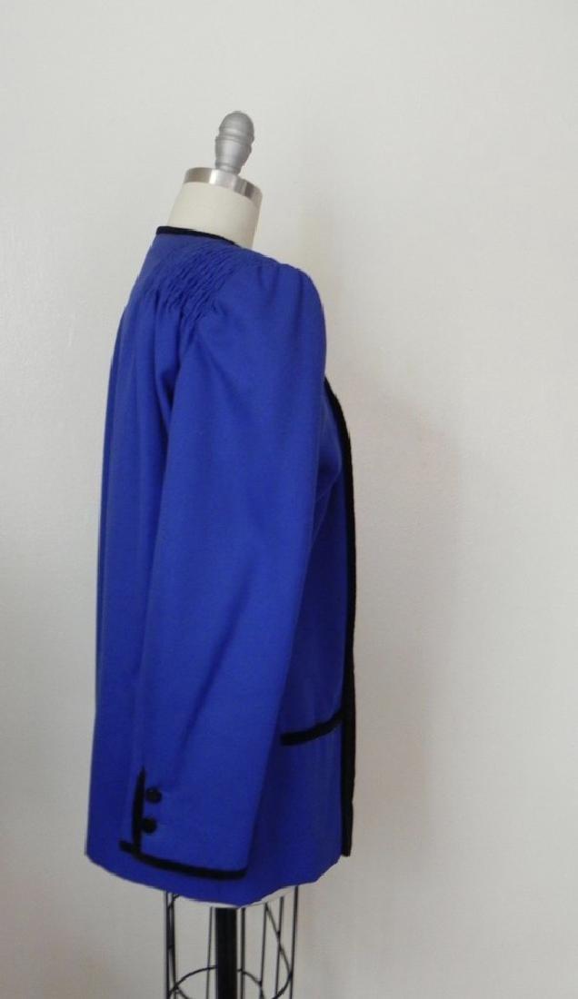 Vintage 1980s Valentino Cobalt Blue Wool Evening Jacket - 4