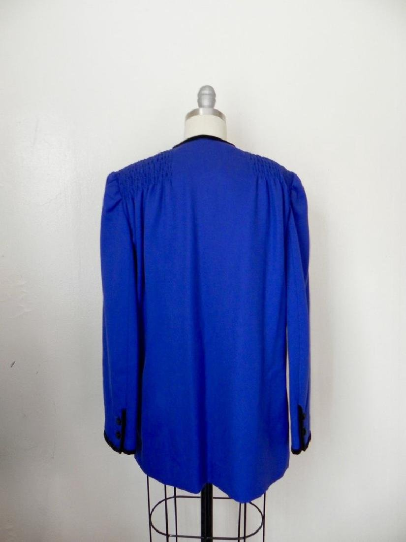 Vintage 1980s Valentino Cobalt Blue Wool Evening Jacket - 5