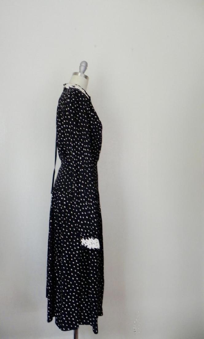 1980s Valentino White Polka Dot Silk Skirt and Blouse - 4