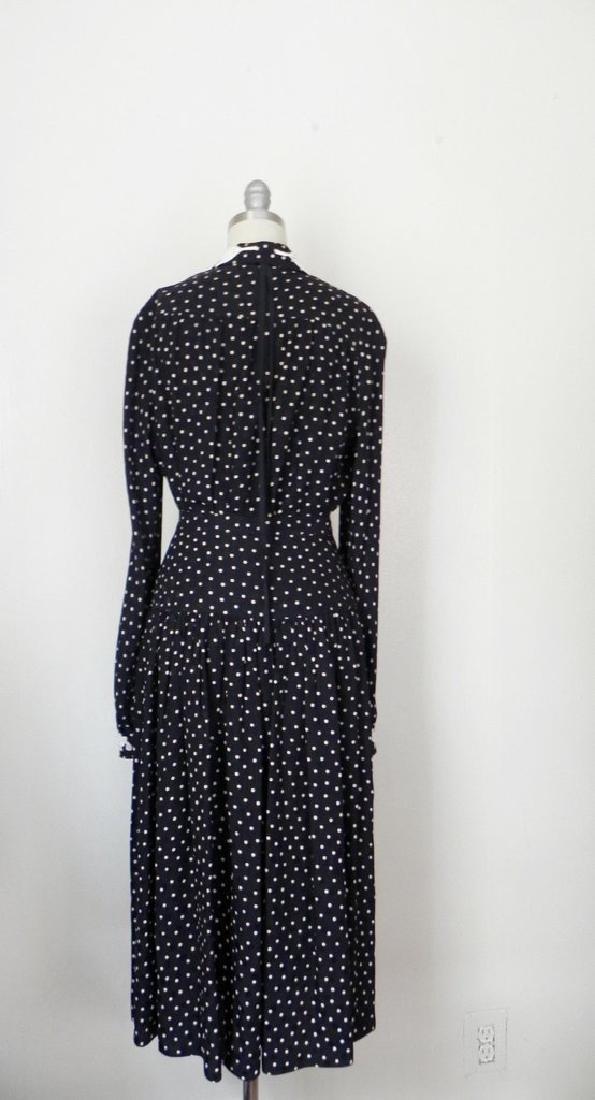 1980s Valentino White Polka Dot Silk Skirt and Blouse - 5