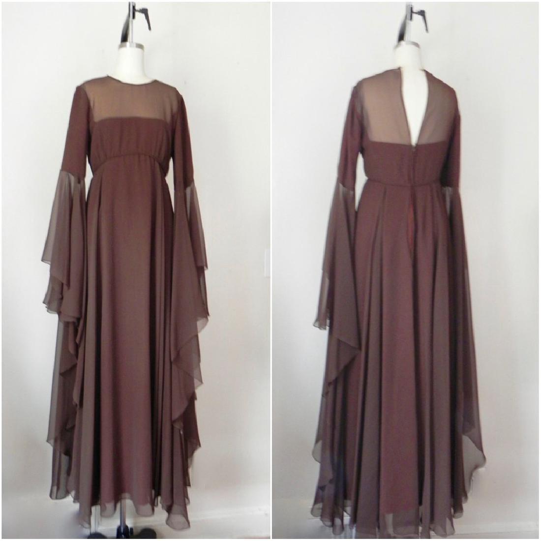 Vintage 1970s Estevez Brown Empire Chiffon Evening Gown