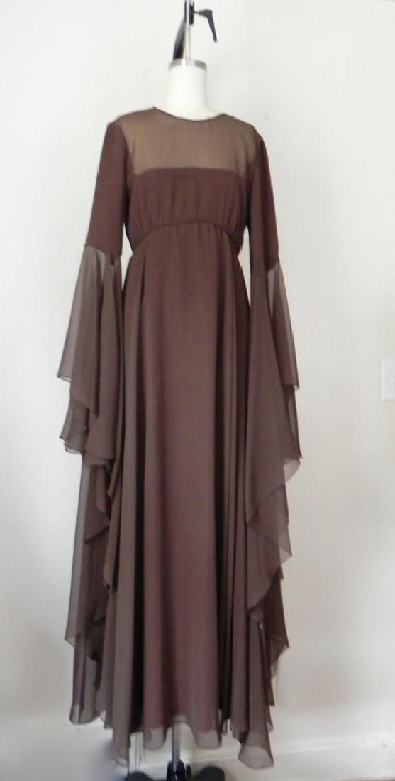 Vintage 1970s Estevez Brown Empire Chiffon Evening Gown - 2