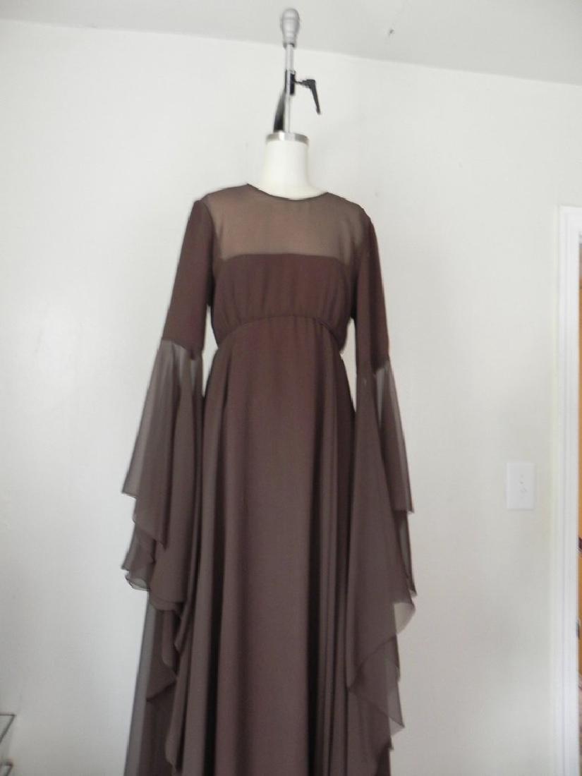 Vintage 1970s Estevez Brown Empire Chiffon Evening Gown - 3