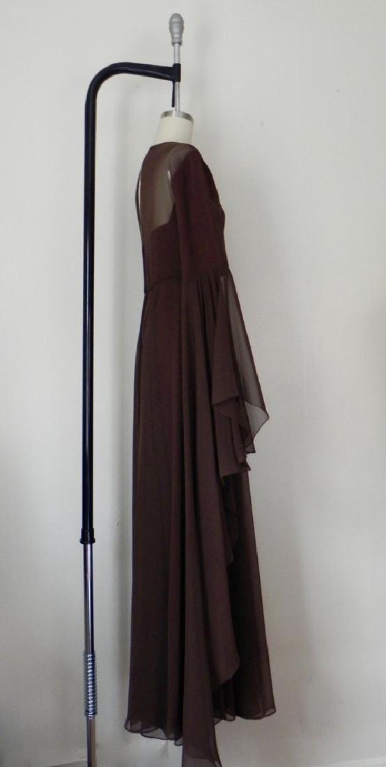 Vintage 1970s Estevez Brown Empire Chiffon Evening Gown - 4