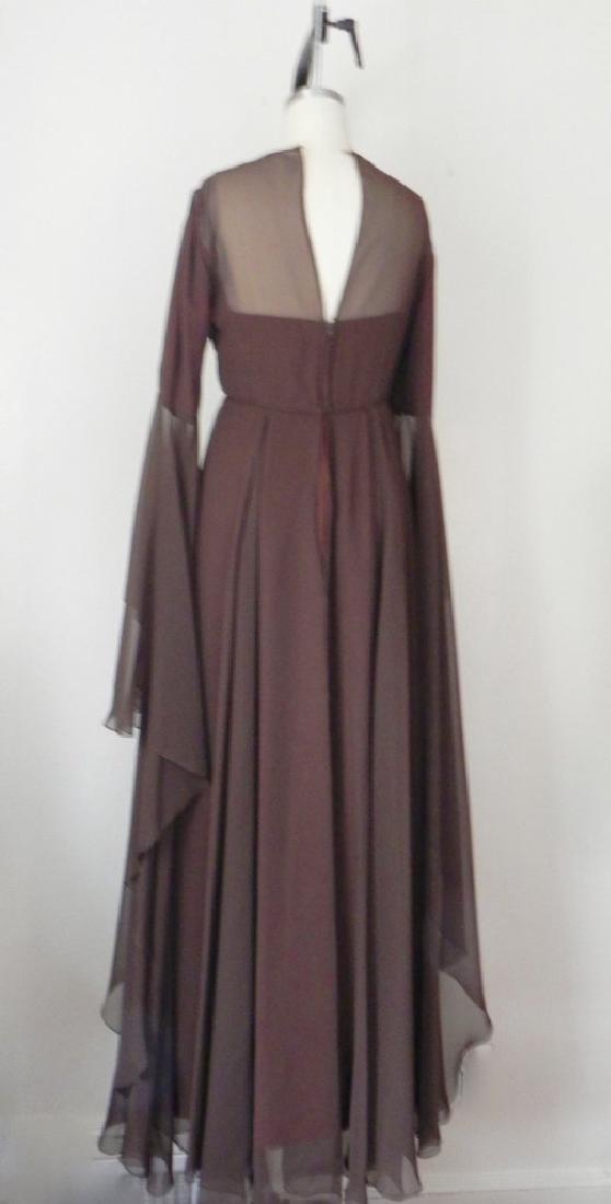 Vintage 1970s Estevez Brown Empire Chiffon Evening Gown - 5