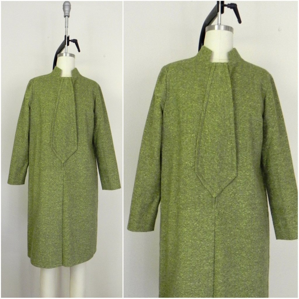 Vintage 1960s Couture Green Tweed Dress