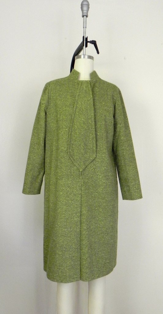 Vintage 1960s Couture Green Tweed Dress - 2
