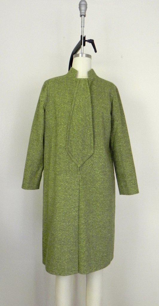 Vintage 1960s Couture Green Tweed Dress - 2