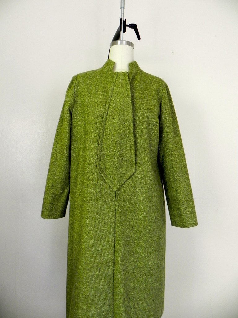 Vintage 1960s Couture Green Tweed Dress - 3