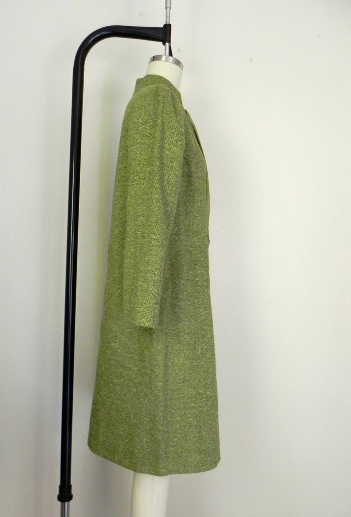Vintage 1960s Couture Green Tweed Dress - 4