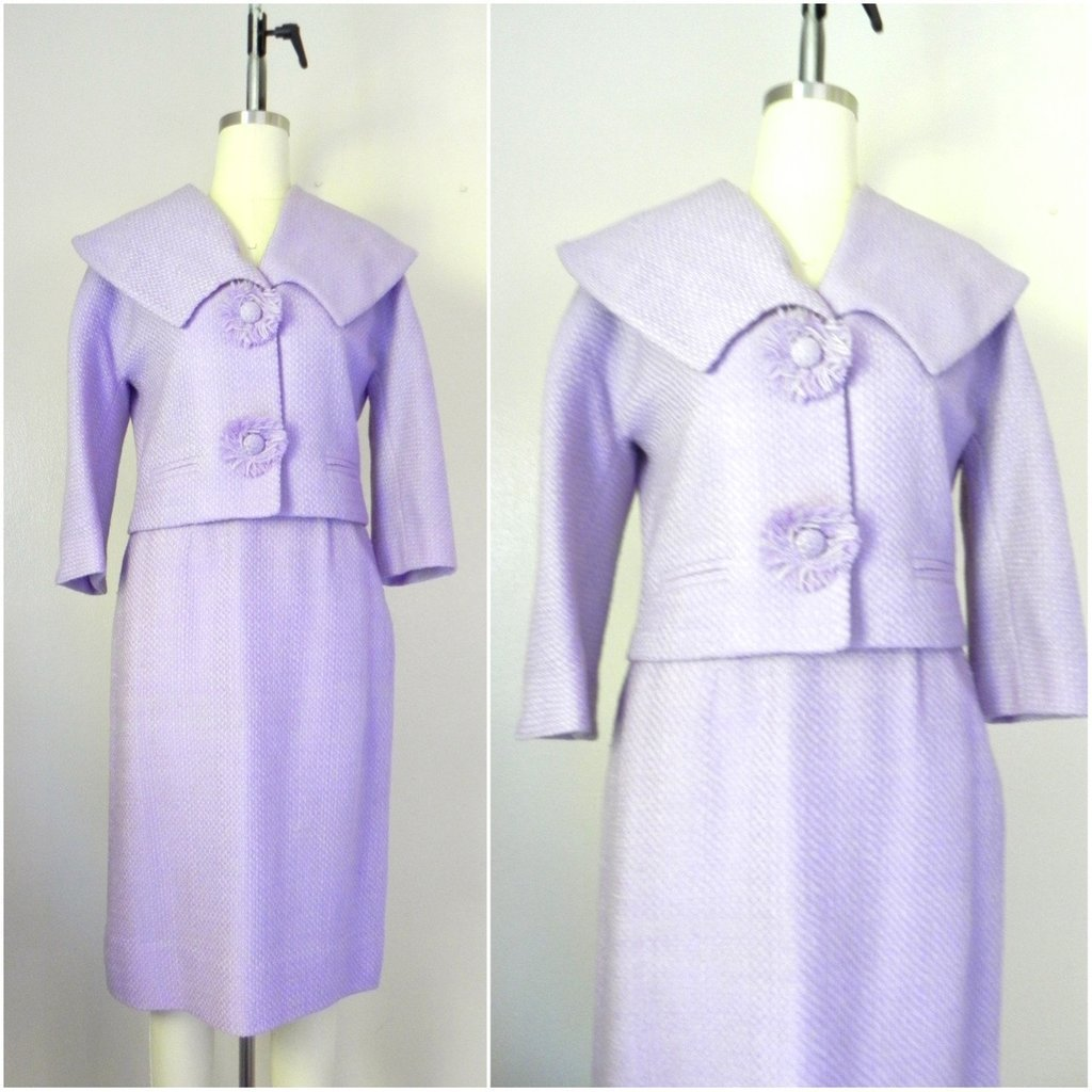 Vintage 1960s Wool Blend Lavender Skirt Jacket Suit Set