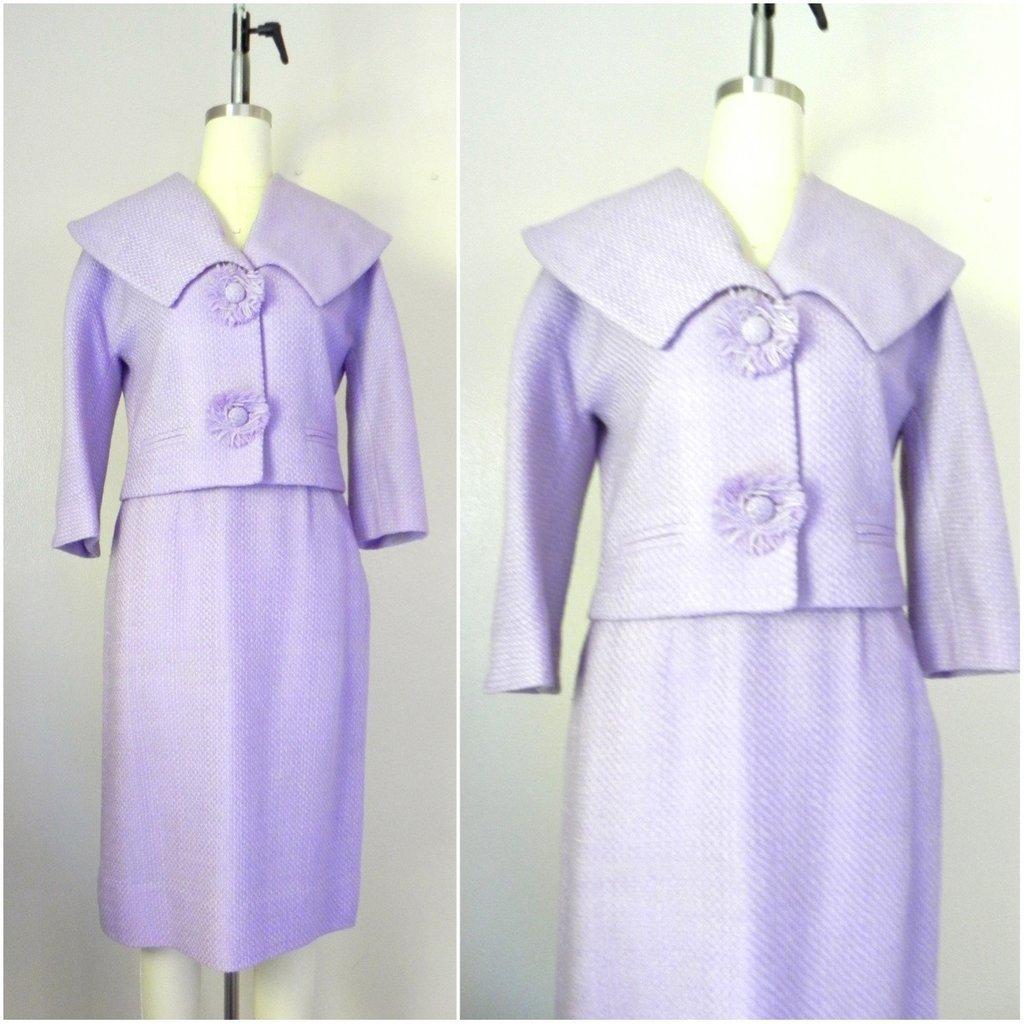 Vintage 1960s Wool Blend Lavender Skirt Jacket Suit Set
