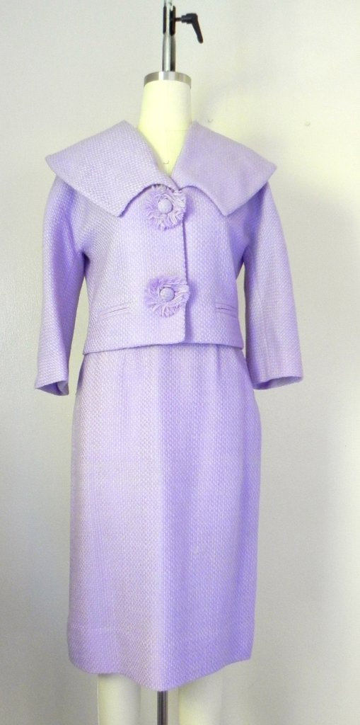 Vintage 1960s Wool Blend Lavender Skirt Jacket Suit Set - 2