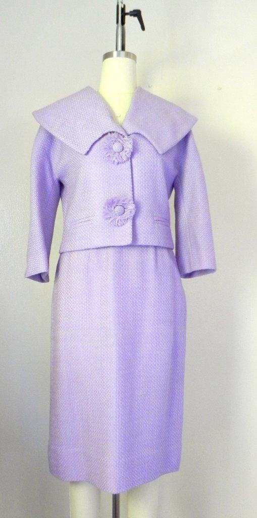 Vintage 1960s Wool Blend Lavender Skirt Jacket Suit Set - 2