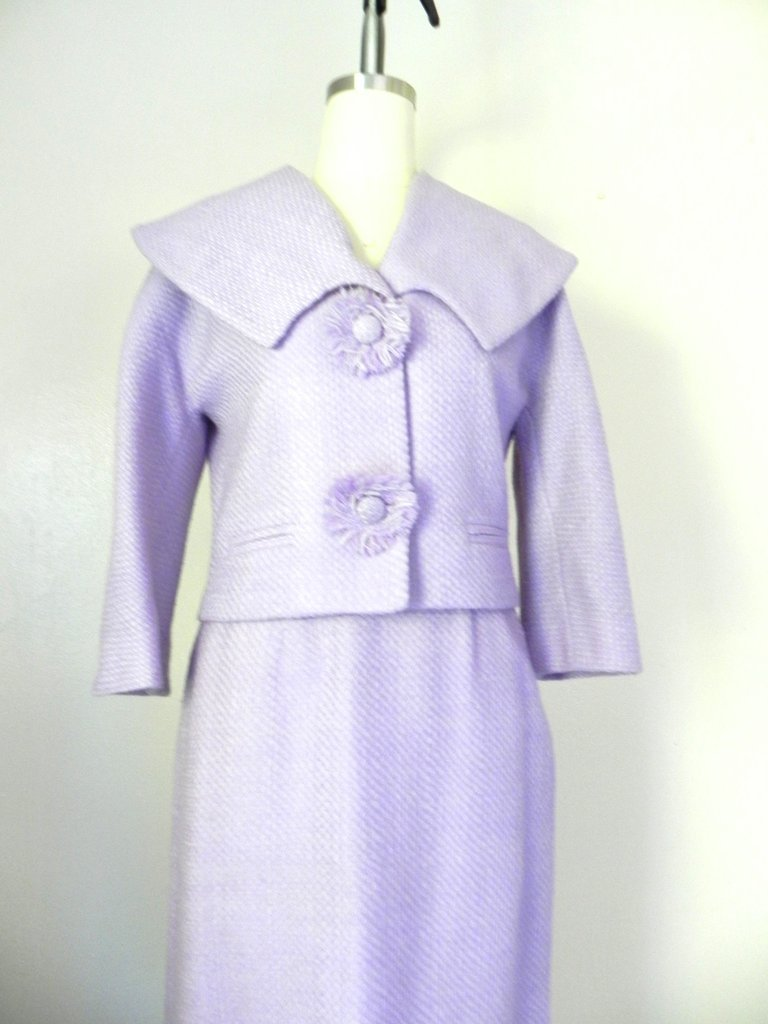 Vintage 1960s Wool Blend Lavender Skirt Jacket Suit Set - 3