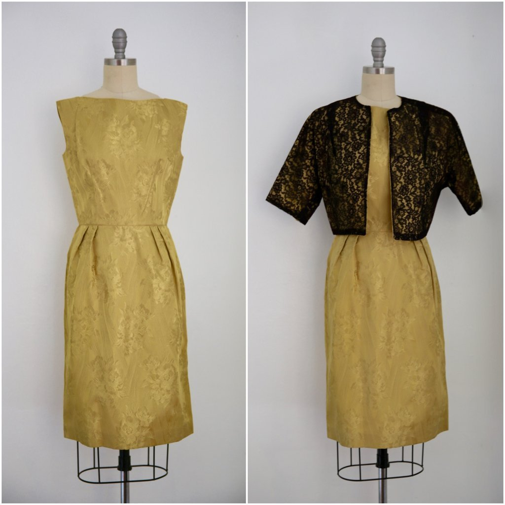 Vintage 1950s Gold Dress with Black Lace Jacket