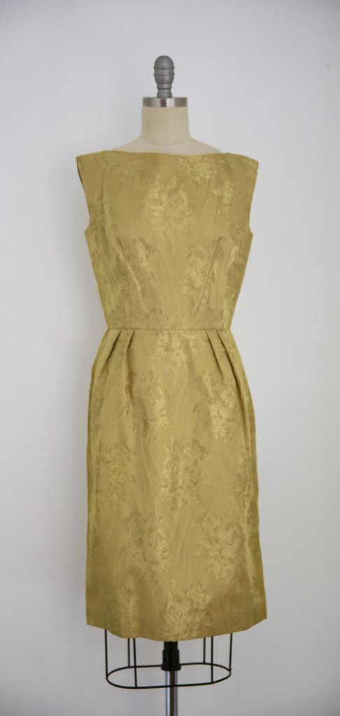 Vintage 1950s Gold Dress with Black Lace Jacket - 2