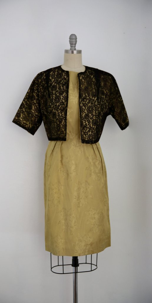 Vintage 1950s Gold Dress with Black Lace Jacket - 5