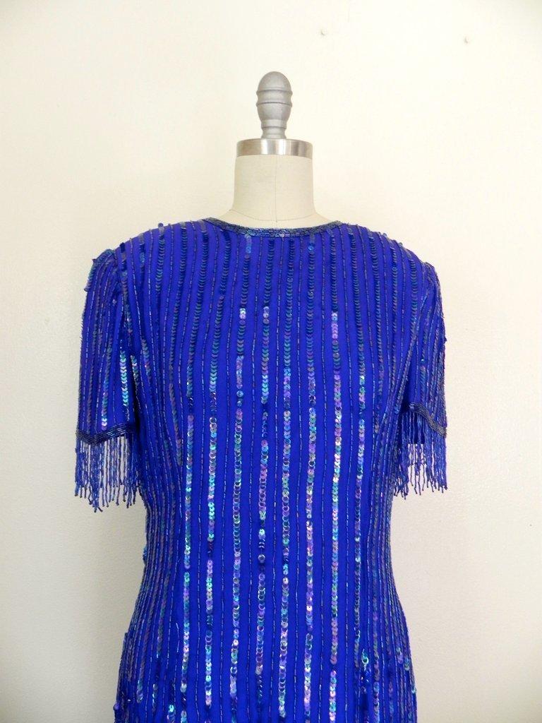 Vintage 1980s Silk Sequin Blue Dress - 2
