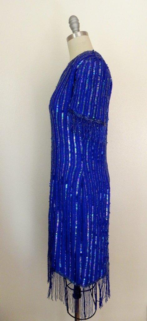 Vintage 1980s Silk Sequin Blue Dress - 4