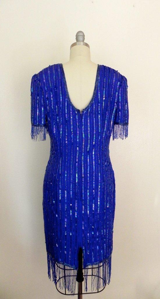 Vintage 1980s Silk Sequin Blue Dress - 5