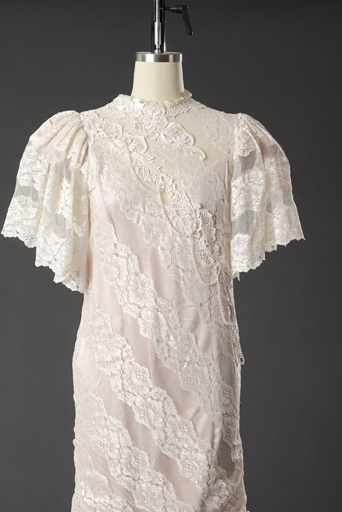 Vintage 1950 Lace White/ Pink Wedding Dress/ Formal - 2