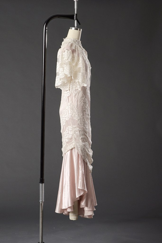 Vintage 1950 Lace White/ Pink Wedding Dress/ Formal - 3