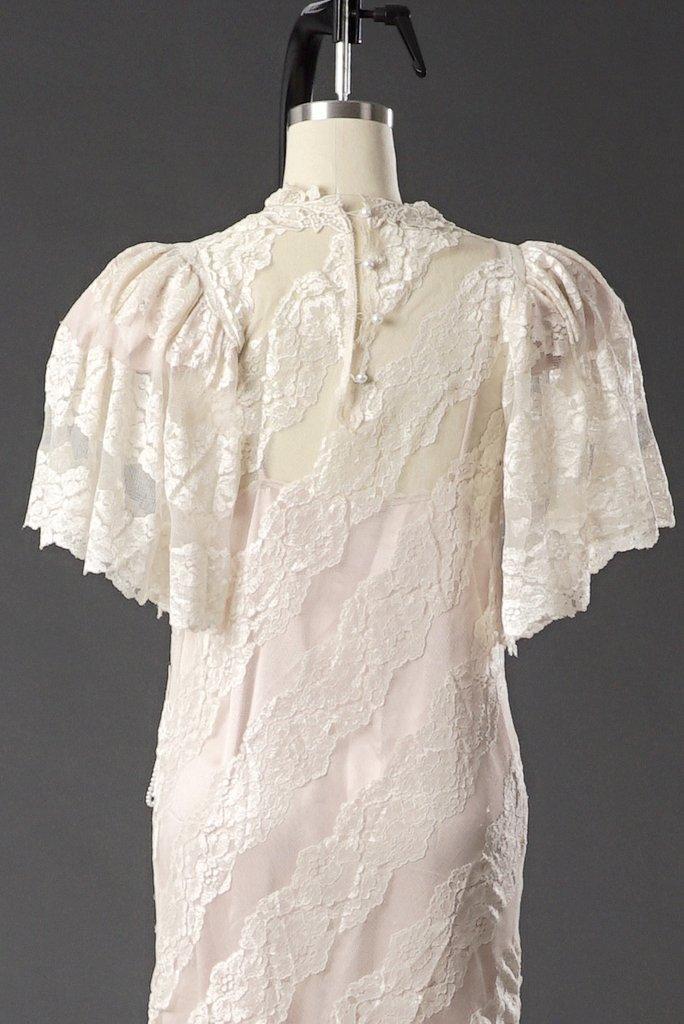 Vintage 1950 Lace White/ Pink Wedding Dress/ Formal - 4