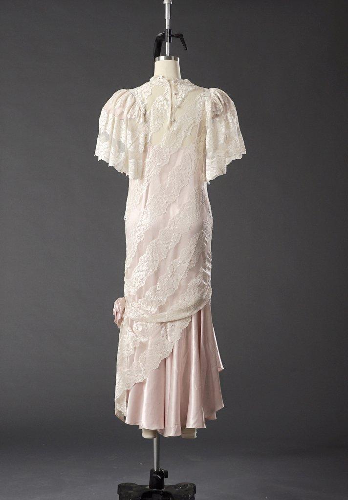 Vintage 1950 Lace White/ Pink Wedding Dress/ Formal - 5