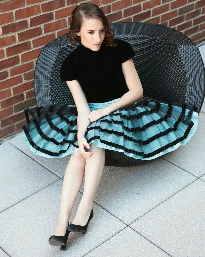 Vintage 1980s Victor Costa Velvet Black/Baby Blue Dress - 2