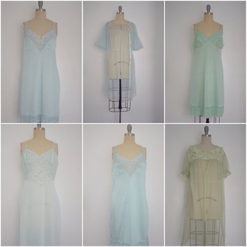 Lot of 6 1960s Baby Blue/ Light Green Nightgowns