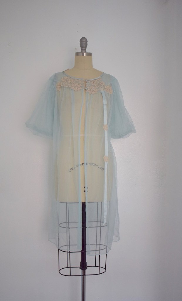 Lot of 6 1960s Baby Blue/ Light Green Nightgowns - 6
