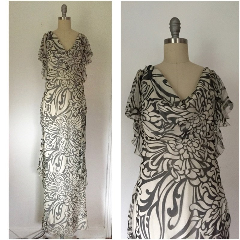 NWT Christian Dior Paris $2395 Ivory Chiffon Silk Dress