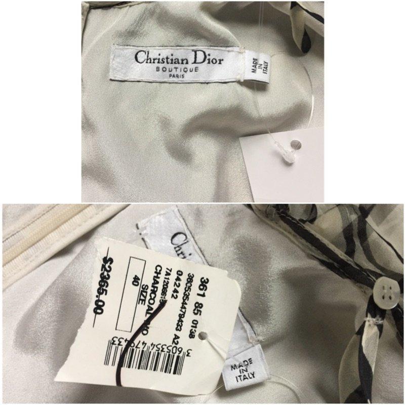 NWT Christian Dior Paris $2395 Ivory Chiffon Silk Dress - 3