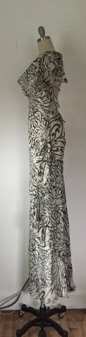 NWT Christian Dior Paris $2395 Ivory Chiffon Silk Dress - 4