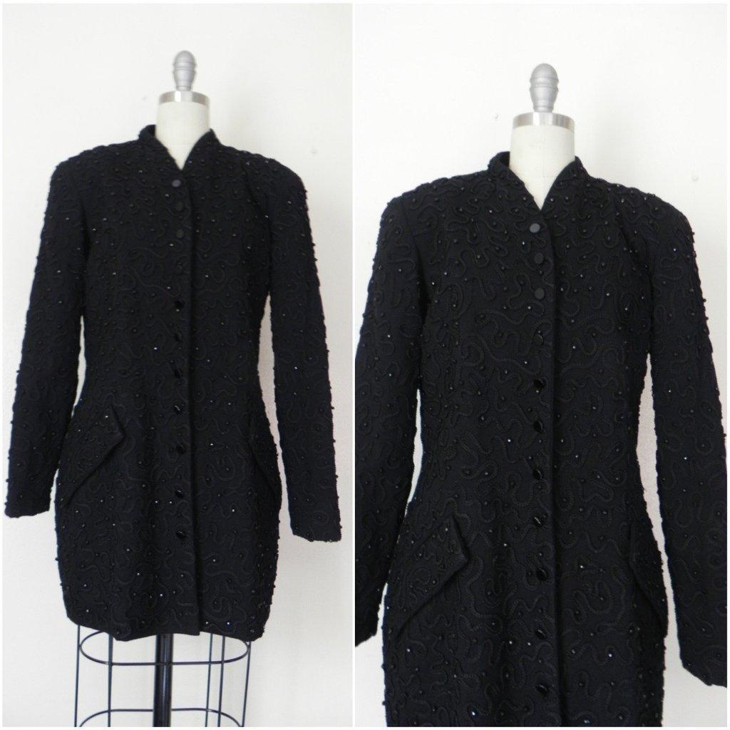 1990s Designer Donna Karen Beaded Jacket