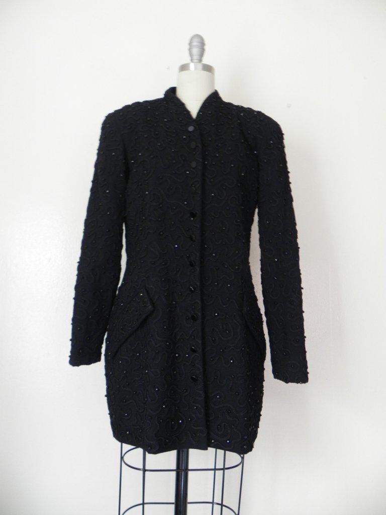 1990s Designer Donna Karen Beaded Jacket - 2